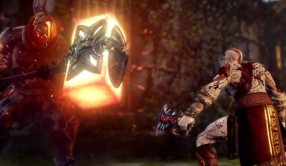 Kratos eyes a glowing, big hammer the video game God of War: Ascension.