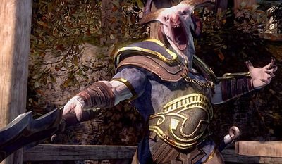 A Satyr looks for a fight in the video game God of War: Ascension.