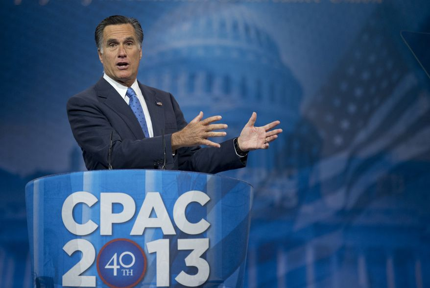 Former Massachusetts Gov. and 2012 Republican presidential candidate Mitt Romney speaks at the 40th annual Conservative Political Action Conference in National Harbor, Md., on March 15, 2013. (Associated Press)