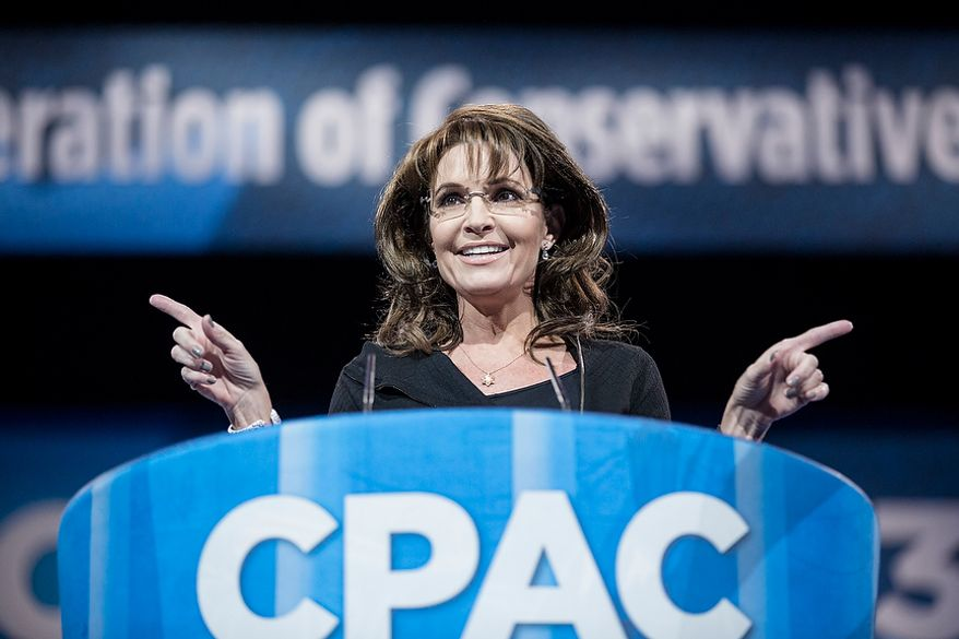 Former Alaska governor Sarah Palin speaks during the final day of the 2013 Conservative Political Action Conference in Fort Washington, Md. on March 16, 2013.(T.J. Kirkpatrick/Special to The Washington Times)
