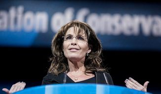 ** FILE ** Former Alaska governor Sarah Palin speaks during the final day of the 2013 Conservative Political Action Conference in Fort Washington, Md. on March 16, 2013. (T.J. Kirkpatrick/Special to The Washington Times)