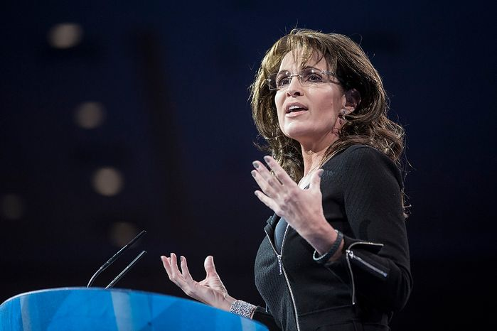 Former Alaska Gov. Sarah Palin speaks during the final day of the 2013 Conservative Political Action Conference in Fort Washington, Md., on Saturday, March 16, 2013. (T.J. Kirkpatrick/Special to The Washington Times)