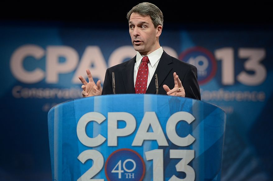 Virginia Attorney General Ken Cuccinelli is the first speaker at this year's Conservative Political Action Conference (C.P.A.C.) held at the Gaylord National Hotel, National Harbor, Md., Thursday, March 14, 2013. (Andrew Harnik/The Washington Times)