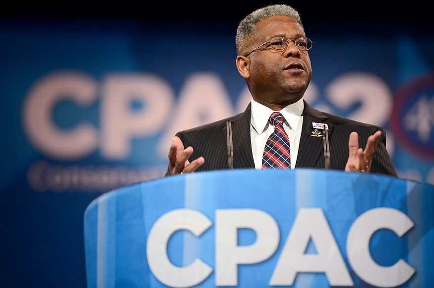 ** FILE ** Former Rep. Allen B. West, Florida Republican, speaks at this year's Conservative Political Action Conference at the Gaylord National Hotel in National Harbor, Md., on Thursday, March 14, 2013. (Andrew Harnik/The Washington Times)