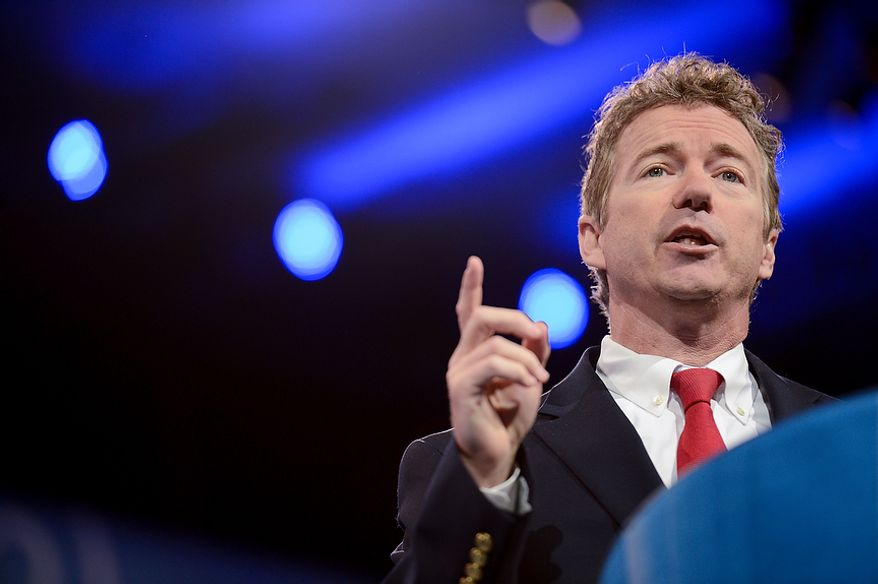 Sen. Rand Paul, Kentucky Republican, speaks at the Conservative Political Action Conference at the Gaylord National Hotel at National Harbor, Md., on Thursday, March 14, 2013. (Andrew Harnik/The Washington Times)