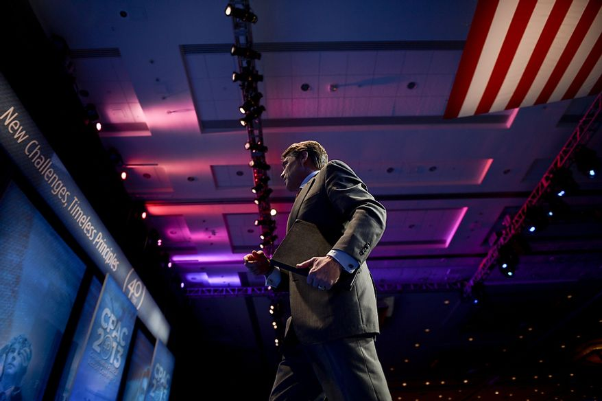 Texas Governor Rick Perry (R) leaves after speaking at this year's Conservative Political Action Conference (C.P.A.C.) held at the Gaylord National Hotel, National Harbor, Md., Thursday, March 14, 2013. (Andrew Harnik/The Washington Times)
