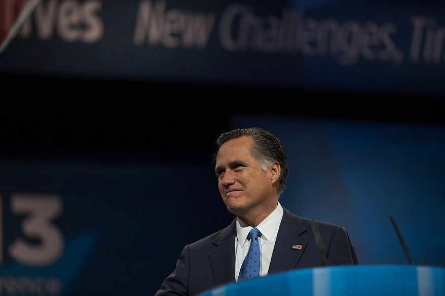 Mitt Romney peers into the audience before he speaks at the Conservative Political Action Conference at the Gaylord National Hotel in National Harbor, Md., on Friday, March 15, 2013. (Andrew S. Geraci/The Washington Times)