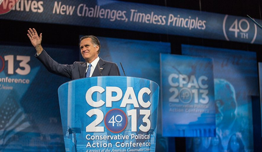Mitt Romney (R) waves to the audience before he speaks at this year's Conservative Political Action Conference (C.P.A.C.) held at the Gaylord National Hotel, National Harbor, Md., Friday, March 15, 2013. (Andrew S. Geraci/The Washington Times) ** FILE **