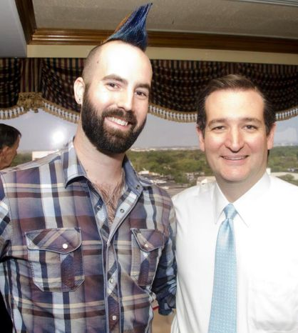 "Ian ""Rooster"" Jacobson (left), a student at the University of Texas whose multicolored mohawk attracted much attention at the Conservative Political Action Conference over the weekend, stands with Sen. Ted Cruz, Texas Republican, at a recent campaign event. (Photo courtesy of Ian Jacobson)"