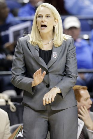 Maryland head coach Brenda Frese reacts to a call during the first half of an NCAA college basketball game against North Carolina at the Atlantic Coast Conference tournament in Greensboro, N.C., Saturday, March 9, 2013. (AP Photo/Chuck Burton)
