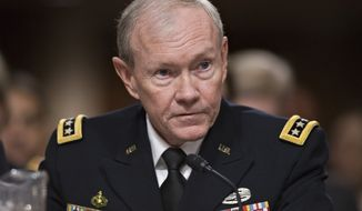 **FILE** Joint Chiefs Chairman Gen. Martin E. Dempsey testifies on Capitol Hill in Washington on Feb. 12, 2013, before the Senate Armed Services Committee hearing on the looming cuts to the defense budget. (Associated Press)