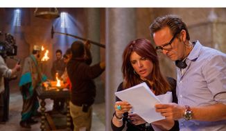 "Executive producers Mark Burnett and Roma Downey are pictured on the set of ""The Bible."" (PRNewsFoto/The History Channel) ** FILE **"