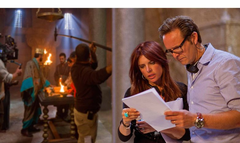 """Executive producers Mark Burnett and Roma Downey are pictured on the set of """"The Bible."""" (PRNewsFoto/The History Channel) ** FILE **"""