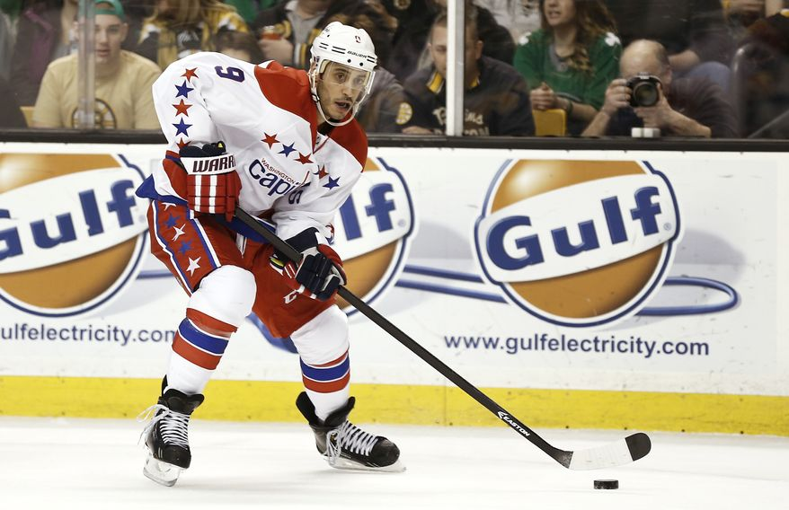 Washington Capitals' Mike Ribeiro during the third period of a NHL hockey game against the Boston Bruins in Boston Saturday, March 16, 2013. (AP Photo/Winslow Townson)
