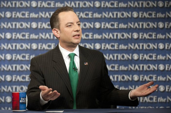 """In this Sunday, March 17, 2013, photo provided by CBS News, Republican National Committee Chairman Reince Priebus speaks on CBS's """"Face the Nation"""" in Washington. Priebus says the party will spend $10 million this year to send hundreds of paid staffers into communities to talk with Hispanic, black and Asian voters. (AP Photo/CBS News, Chris Usher)"""