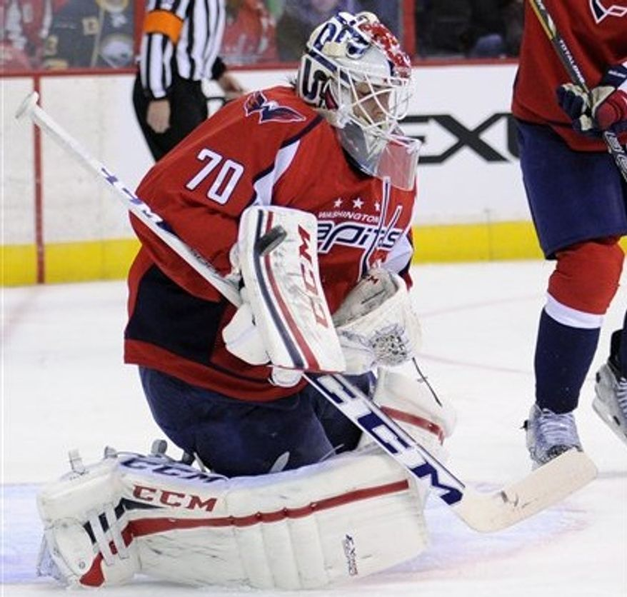 Washington Capitals goalie Braden Holtby (70) plays the puck against the Buffalo Sabres during the first period of an NHL hockey game, Sunday, March 17, 2013, in Washington. The Capitals won 5-3. (AP Photo/Nick Wass)