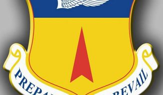 The insignia of the Air Force's 36th Wing at Anderson Air Force Base in Guam reveals the prevailing sentiment for the host unit of B-52 training flights over Korea.