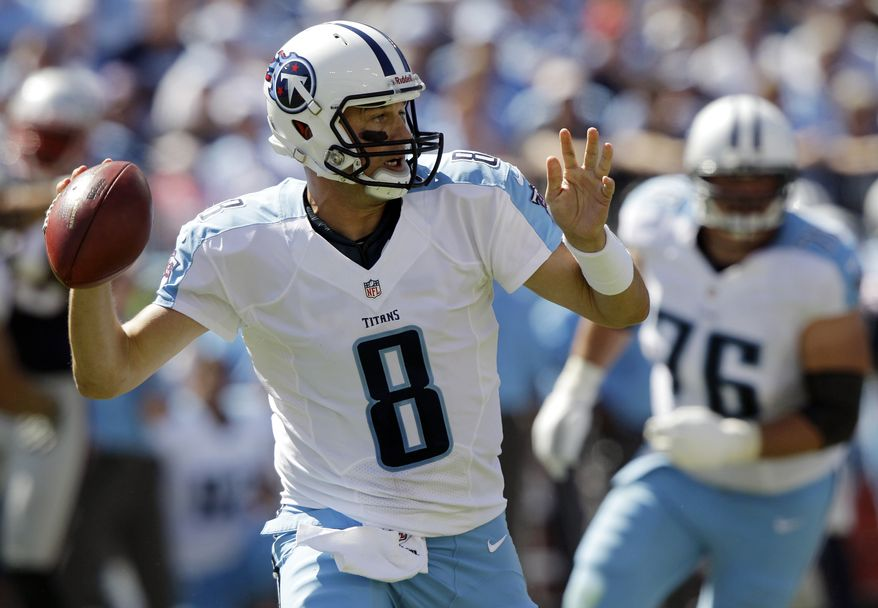 FILE - In this Sept. 9, 2012, file photo, Tennessee Titans quarterback Matt Hasselbeck throws a pass against the New England Patriots in the fourth quarter of an NFL football game in Nashville, Tenn. Less than 24 hours after being released by the Titans, the 37-year-old quarterback signed with division rival Indianapolis. Terms of the deal were not immediately available. It looks like a smart move for the Colts, who lost last year's backup, free agent Drew Stanton, to Arizona last week. (AP Photo/Wade Payne, File)
