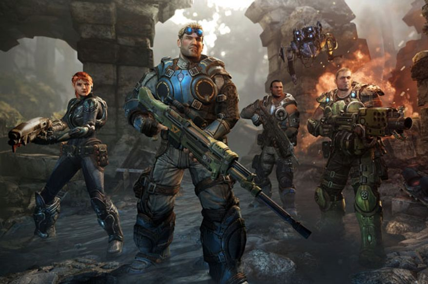Sophia Hendrick, Lt. Damon Baird, Augustus Cole and Garron Paduk star in the video game Gears of War: Judgment.