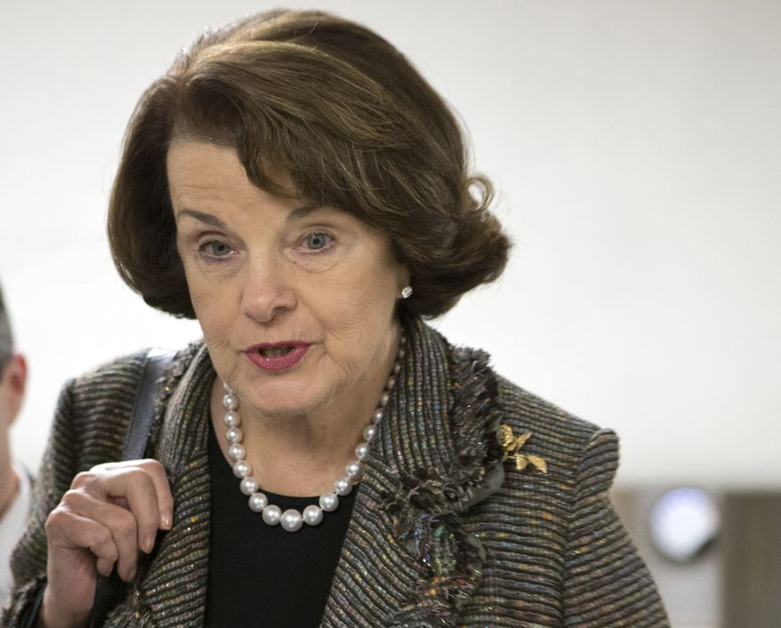 **FILE** Sen. Dianne Feinstein, California Democrat, speaks Feb. 25, 2013, with reporters on Capitol Hill in Washington. (Associated Press)