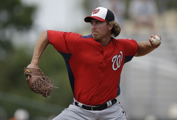 Washington Nationals pitcher Zach Duke throws during the sixth inning of an exhibition spring training baseball game against the Miami Marlins Wednesday, March 20, 2013, in Jupiter, Fla. (AP Photo/Jeff Roberson)
