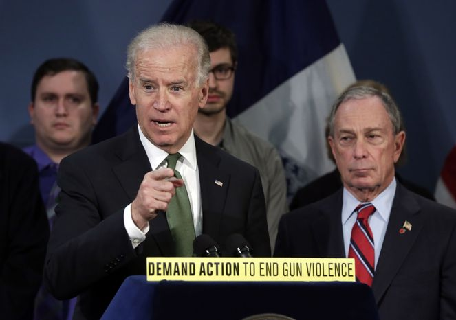 Vice President Joseph R. Biden (left), accompanied by New York Mayor Michael Bloomberg, speaks in New York's City Hall Blue Room on March 21, 2013. Relatives of shooting victims from Newtown, Conn., stood with Bloomberg and Biden as they spoke in favor of an assault weapons ban. (Associated Press)
