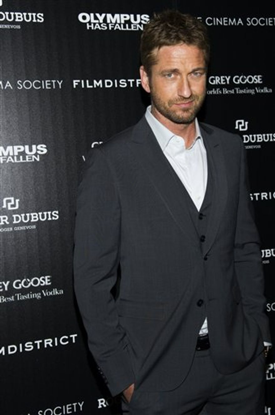 """Gerard Butler attends a screening of FilmDistrict's """"Olympus Has Fallen"""" on Monday, March 11, 2013 in New York. (Photo by Charles Sykes/Invision/AP)"""