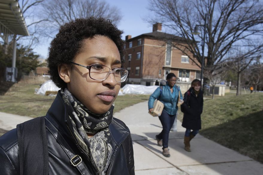 Modjeska Pleasant, 19, who is a first-year biology student at Oberlin College in Oberlin, Ohio, talks on Tuesday, March 5, 2013, about the racial incidents that have occurred recently at the college. (AP Photo/Tony Dejak)