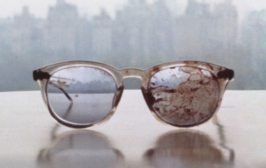 A picture of John Lennon's bloody glasses taken shortly after he was murdered. (Twitter, Yoko Ono)
