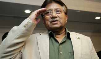 Former Pakistani President Pervez Musharraf salutes his party members during a ceremony to celebrate Pakistan National Day ahead his trip to Karachi, in Dubai, United Arab Emirates, Saturday, March 23, 2013. Musharraf says he will follow through with his plans to return to his homeland despite risks of arrest and other threats. (AP Photo/Kamran Jebreili)
