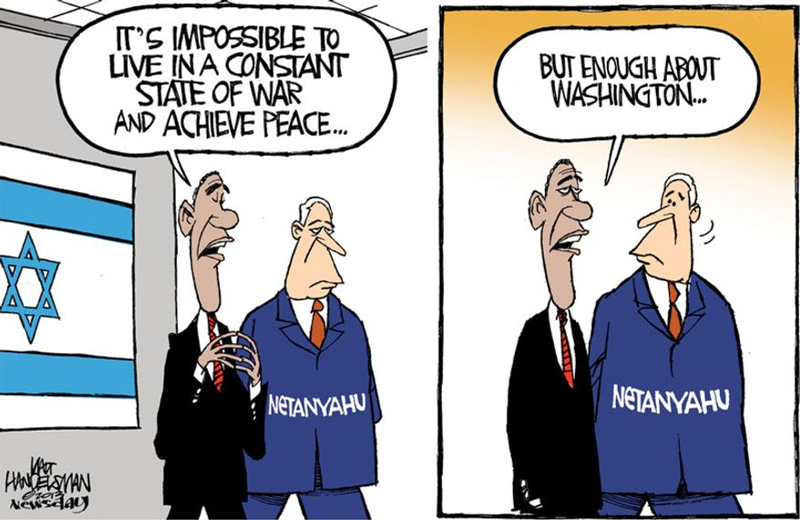 It's impossible to live in a constant state of war and achieve peace ... (Illustration by Walt Handelsman of Newsday)