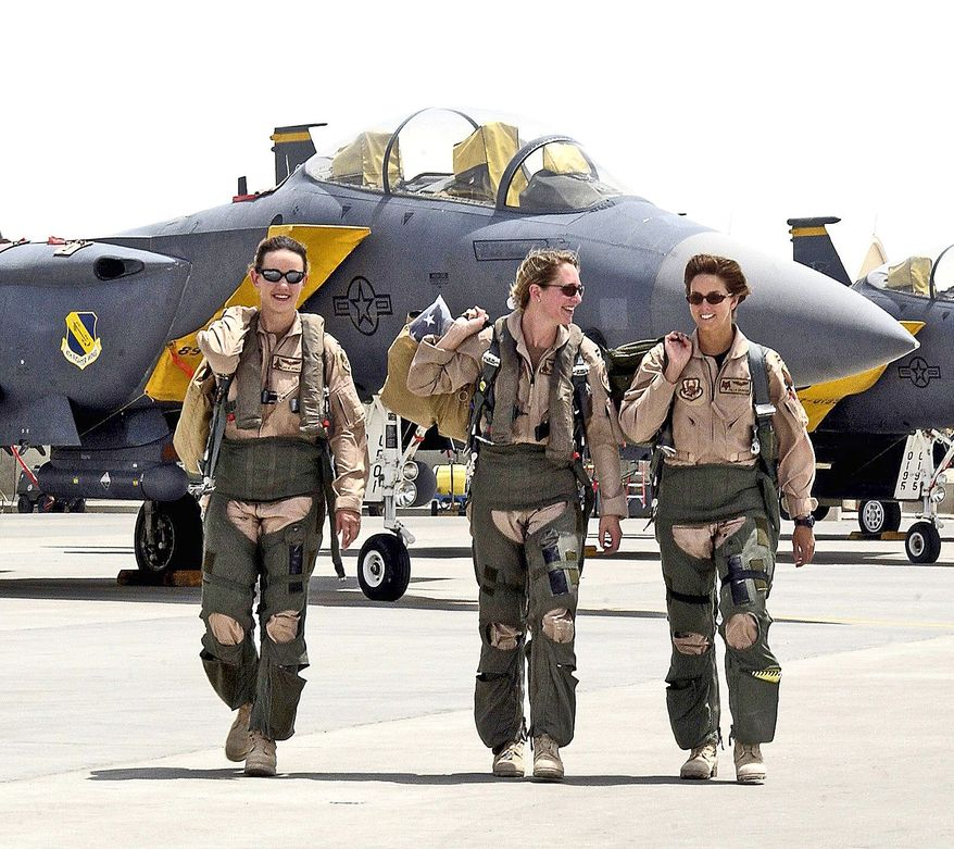 u.s. air force photograph Female fighter pilots from the 379th Air Expeditionary Wing flew in combat missions in support of Operation Iraqi Freedom from a forward-deployed base in the Middle East. The Air Force now has 85 female pilots, or 2 percent of the total.