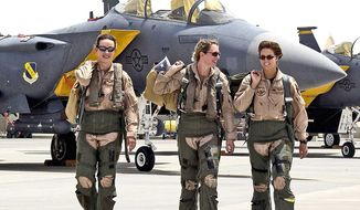 Female fighter pilots from the 379th Air Expeditionary Wing flew in combat missions in support of Operation Iraqi Freedom from a forward-deployed base in the Middle East. The Air Force now has 85 female pilots, or 2 percent of the total. (Courtesy of the U.S. Air Force)