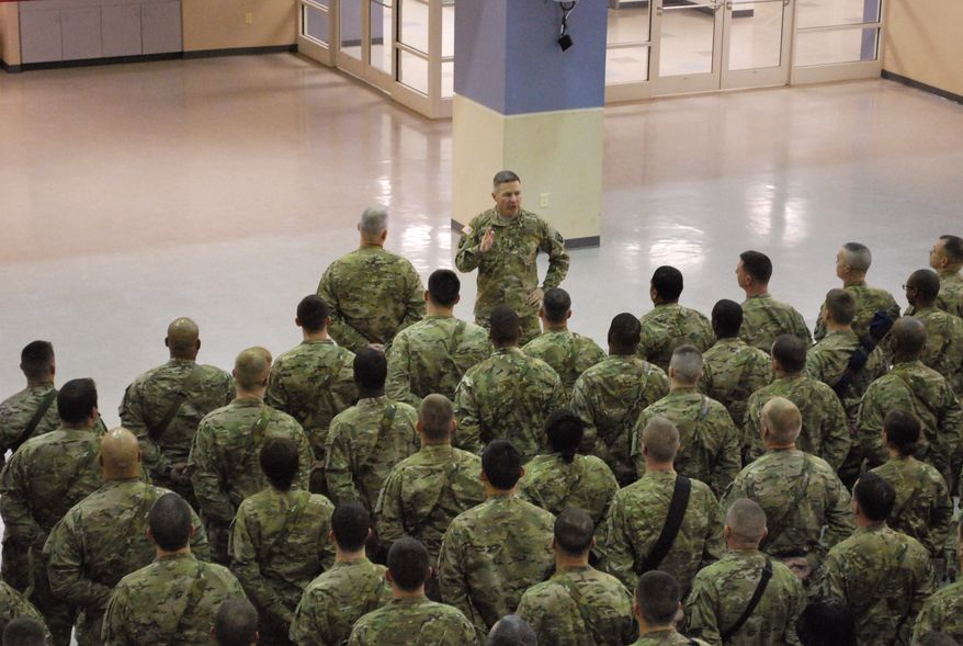 **FILE** Maj. Gen. James McConville speaks to troops from the 101st Airborne Division on on Feb. 19, 2013, as they prepare to leave Fort Campbell, Ky., for a yearlong deployment to Afghanistan. (Associated Press)