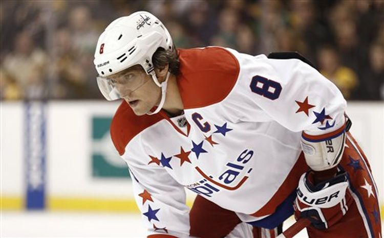 Washington Capitals' Alex Ovechkin during the first period of a NHL hockey game against the Boston Bruins in Boston Saturday, March 16, 2013. (AP Photo/Winslow Townson)