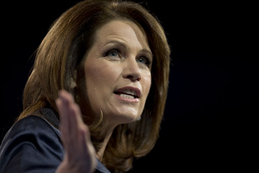 **FILE** Rep. Michele Bachmann, Minnesota Republican, speaks at the 40th annual Conservative Political Action Conference in National Harbor, Md., on March 16, 2013. (Associated Press)