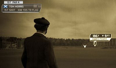 Legendary golfer Tom Morris looks over the Old Course at St. Andrews in the video game Tiger Woods PGA Tour 14.