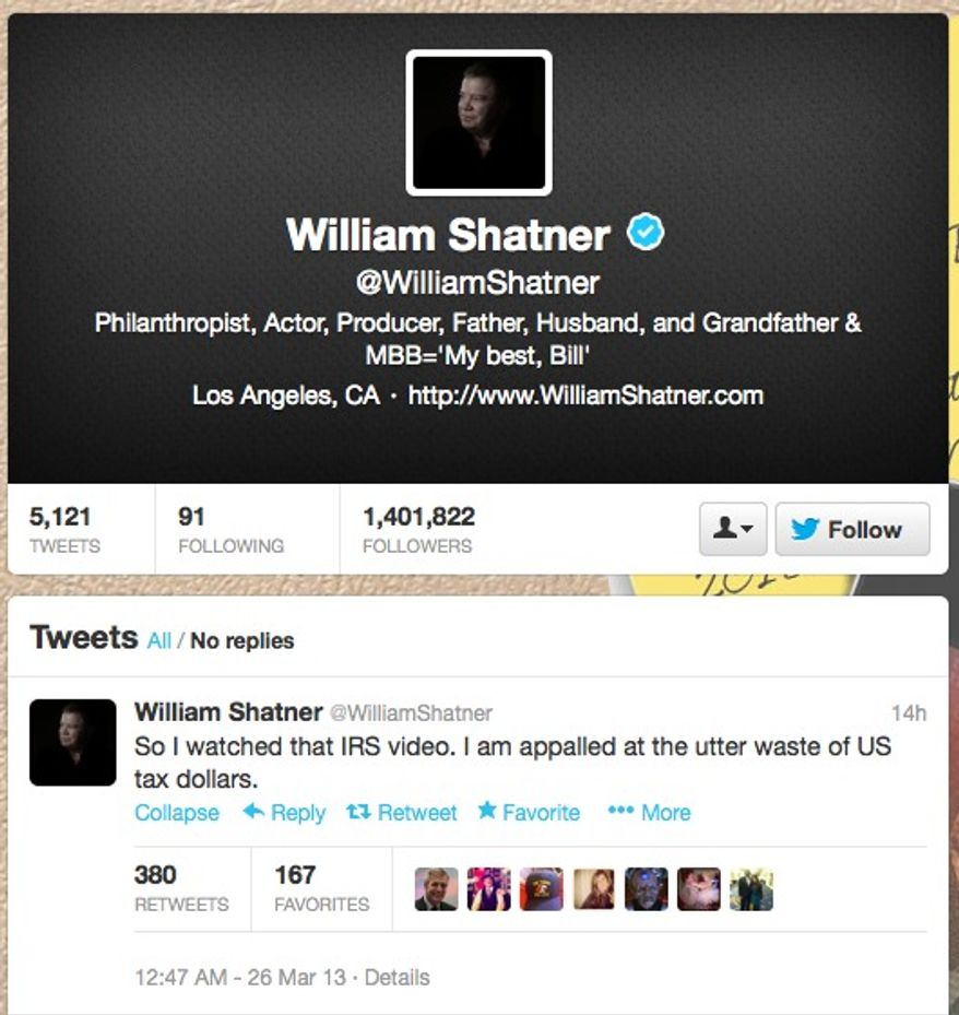 "William Shatner says he is appalled at an IRS parody of the popular ""Star Trek"" franchise on March 26, 2013. (Twitter)"