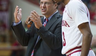 **FILE** Indiana coach Tom Crean talks with Maurice Creek during the second half of an NCAA college basketball game Saturday, Dec. 1, 2012, in Bloomington, Ind. Indiana defeated Coppin State 87-51. (AP Photo/Doug McSchooler)