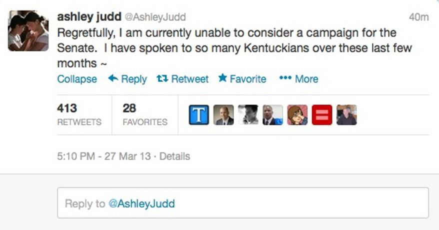 Actress Ashley Judd announces she won't run for office in Kentucky on March 27, 2013. (Twitter)
