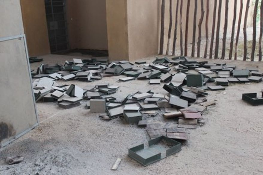 March 26: The scene at Timbuktu's Koranic library, where Islamist extremists burned 4,202 rare copies of the Koran, some dating back to the 12th through 16th centuries. Before the Islamists could carry out the book burning, concerned Malians smuggled 24,000 Korans to the capital, Bamako, and hid another 10,000 Korans elsewhere in Timbuktu. (Photo by John Price)