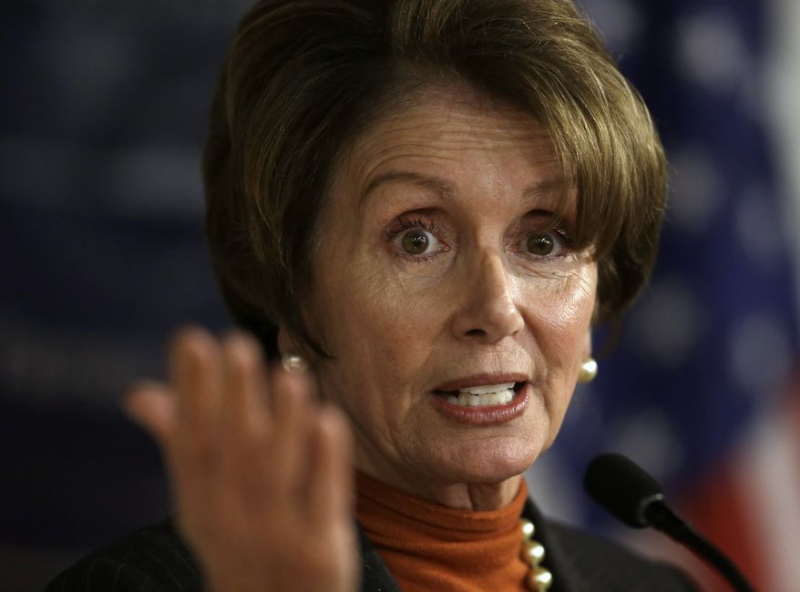 **FILE** House Minority Leader Nancy Pelosi addresses an audience in Boston during an event held to mark the 20th anniversary of the Family and Medical Leave Act on March 25, 2013. (Associated Press)