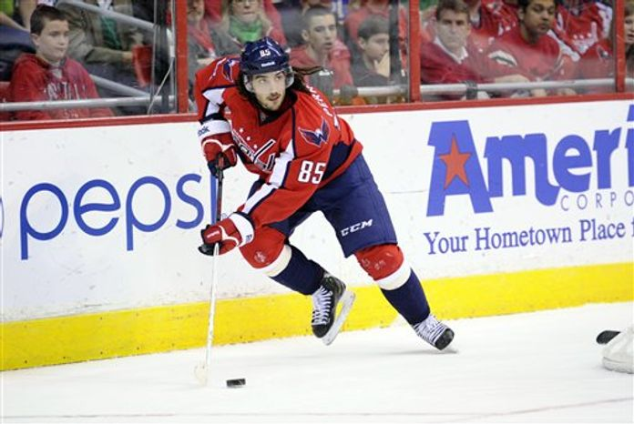 Washington Capitals center Mathieu Perreault (85) skates with the puck against the Buffalo Sabres during the second period of an NHL hockey game, Sunday, March 17, 2013, in Washington. (AP Photo/Nick Wass)