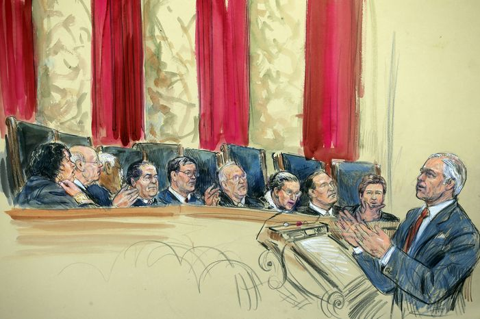 This artist rendering shows attorney Charles J. Cooper, right, addressing the Supreme Court in Washington, Tuesday, March 26, 2013, as the court heard arguments on California's ban on same-sex marriage. Justices, from left are, Sonia Sotomayor, Stephen Breyer, Clarence Thomas, Antonin Scalia, Chief Justice John Roberts, and Justices Anthony Kennedy, Ruth Bader Ginsburg, Samuel Alito and Elena Kagan. (AP Photo/Dana Verkouteren)