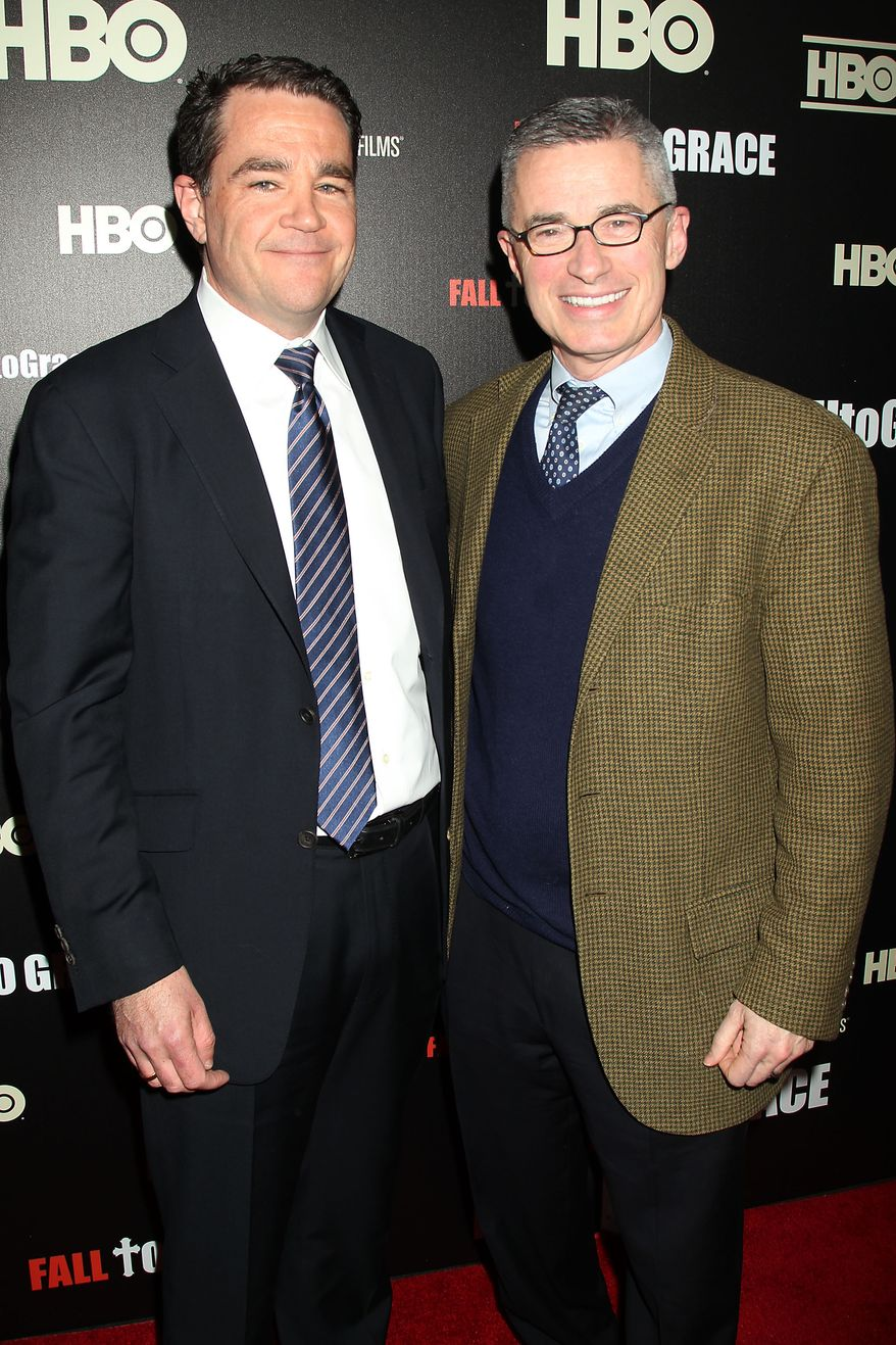 "Former New Jersey Gov. Jim McGreevey (right) and Mark O'Donnell, his partner, attend the premiere of the HBO documentary ""Fall to Grace"" in New York on Thursday, March 21, 2013. The film chronicles the life of Mr. McGreevey, who resigned from office after declaring himself a gay American. The documentary premieres Thursday at 8 p.m. on HBO. (AP Photo/Starpix, Dave Allocca)"