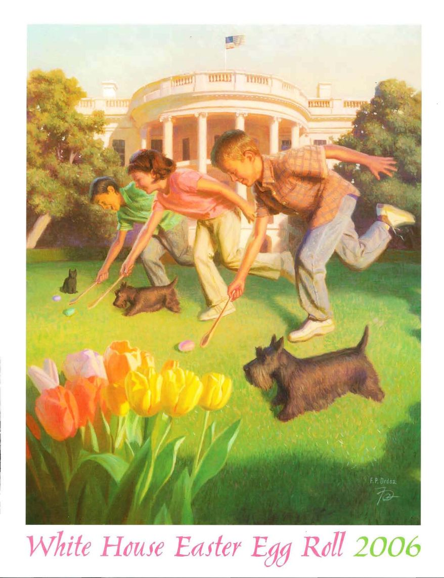 Look, there's Barney! The White House Easter Egg Roll Program - from 2006. (Image from the George W. Bush Presidential Library)