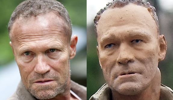 Actor Michael Rooker compared to his action figure counterpart, Merle Dixon, from McFarlane Toys' The Walking Dead: TV Series 3 collection.