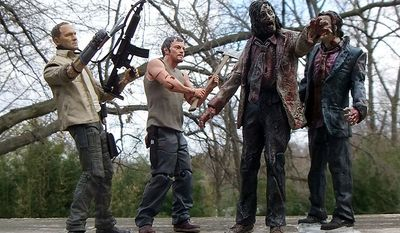Brothers Merle and Daryl Dixon team up to take of some zombies in McFarlane Toys' The Walking Dead: TV Series 3 action figure collection.