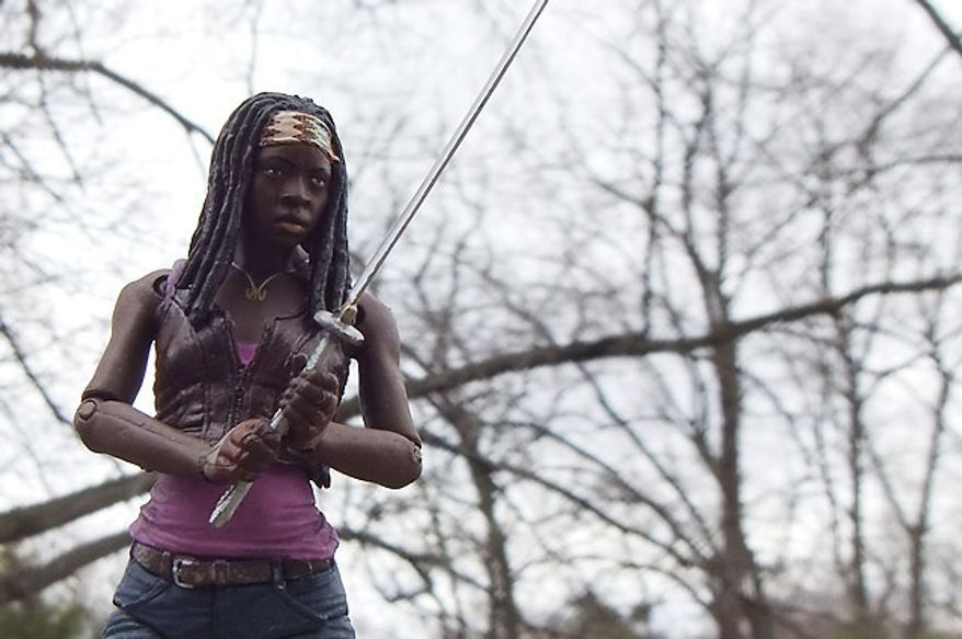 Michonne and her favorite sword from McFarlane Toys' The Walking Dead: TV Series 3 collection.