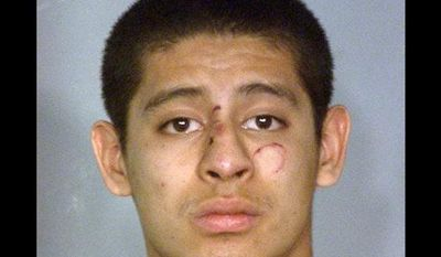Jean Soriano, 18, was booked into the Clark County Detention Center after he was released from a Las Vegas hospital following his arrest on suspicion of driving under the influence in a southern Nevada crash that killed five members of a California family and injured the suspect and three other people. (AP Photo/Nevada Highway Patrol)